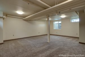 image of carpeted basement with multiple windows