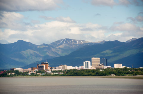 The city of Anchorage, Alaska on a summer day
