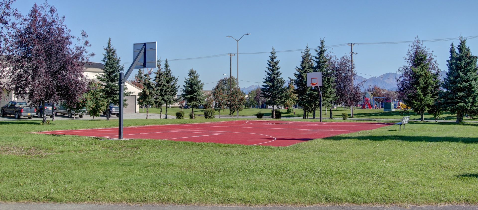 A small outdoor basketball court on Joint Base Elmendorf-Richardson