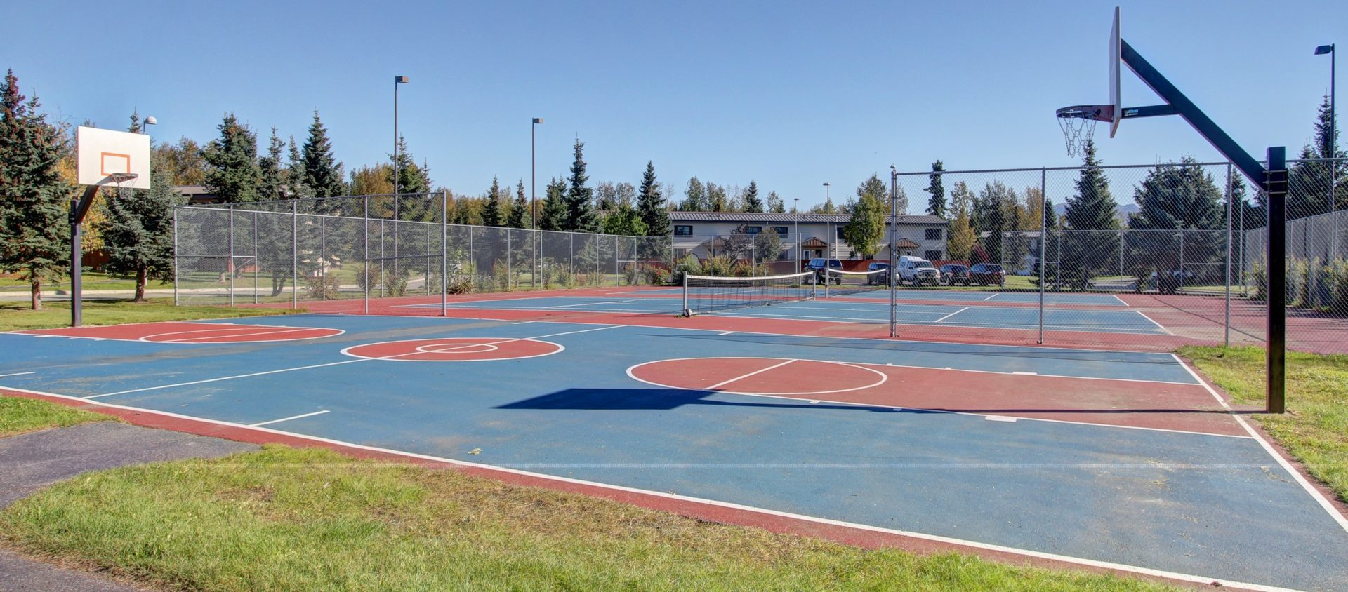 outdoor basketball and and tennis courts at JBER's Cherry Hill neighborhood