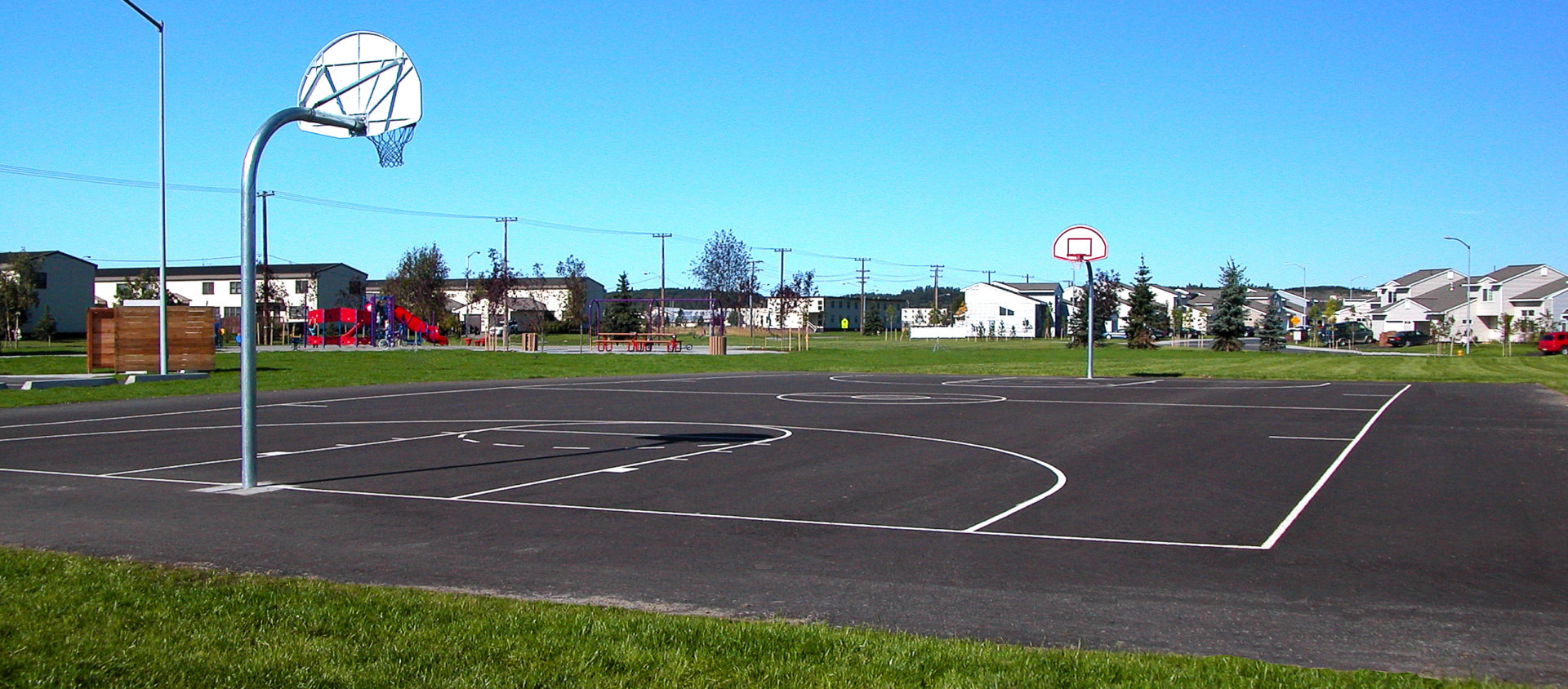 An outdoor basketball court near the Dallas neighborhood on JBER serves area residents