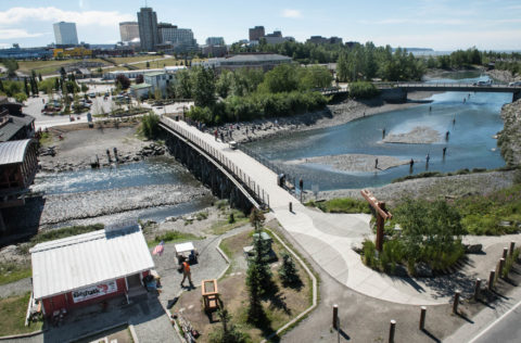 Right outside of JBER's Government Hill gate is Anchorage's Ship Creek where locals can salmon fish right in town.