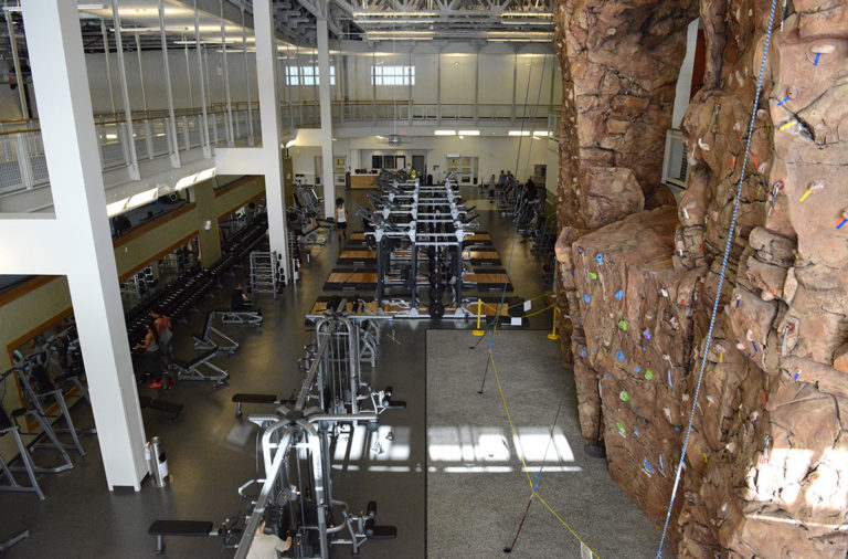 Indoor gym and climbing wall