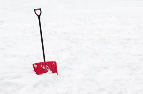 A red snow shovel standing in snow.