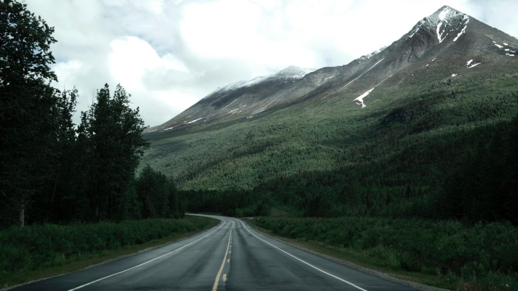 Alaska highway fades into trees and mountains