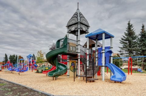 View of large playground with tall climbing area, slides, swings.