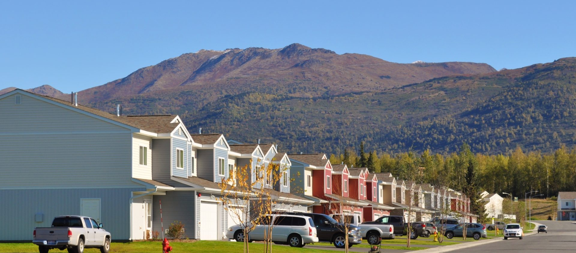 Houses line clean well maintained streets on JBER in Alaska