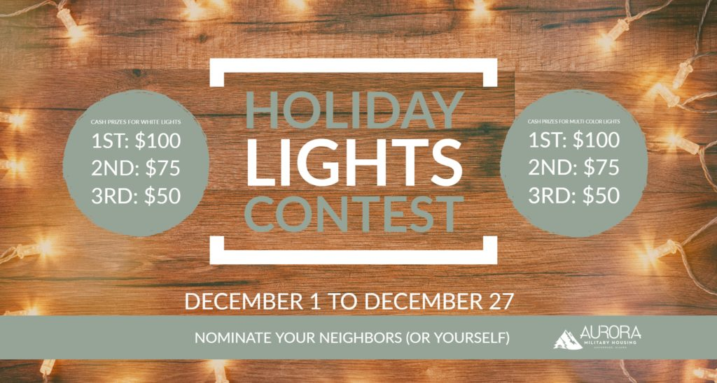flyer describing prizes and entry dates for holiday lights contest