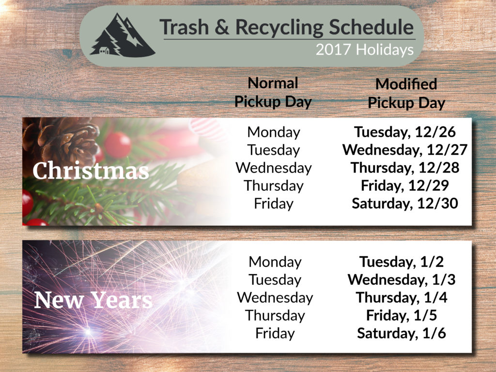 Graphic showing holiday and recycling schedule
