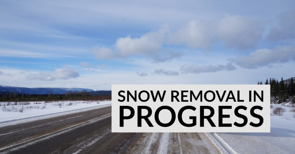 Road in alaska cleared of snow