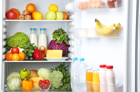 Fridge with fruits and veggies