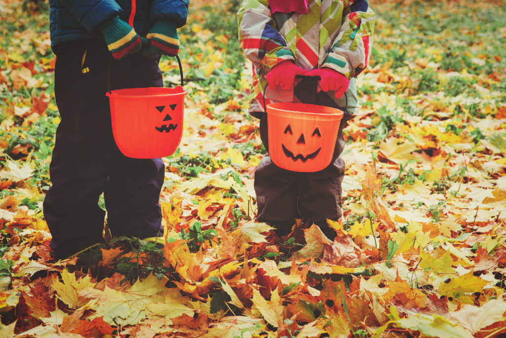 Image of boy and girl standing amidst leaves, holding pumpkin shaped candy buckets.