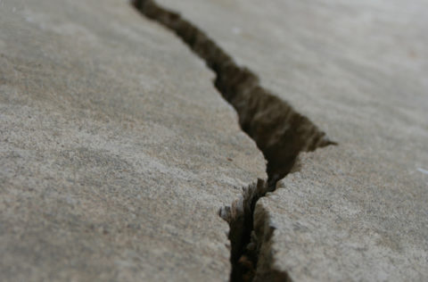 crack in street from earthquake
