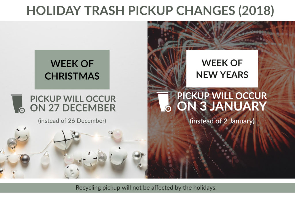 Trash pickup schedule for Christmas and New Years