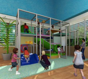mock up image of community center indoor play area