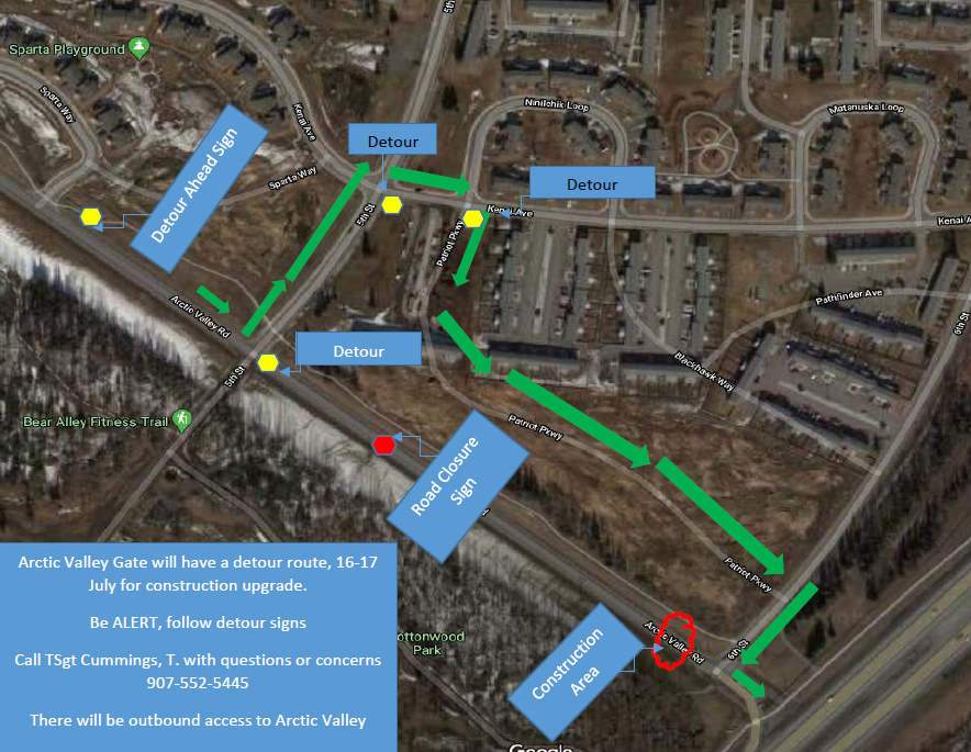 map showing detour to Arctic valley gate. cars pass down patriot parkway on JBER