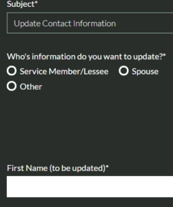 image of general contact form on Aurora website