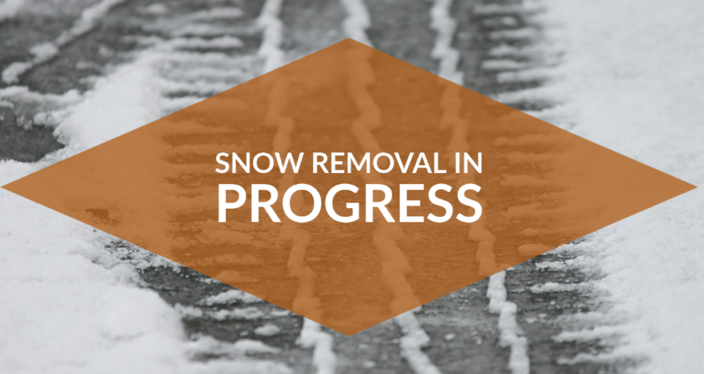 snow removal graphic text over snowy tire mark