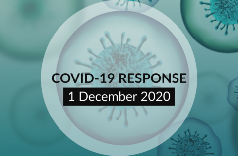 COVID 19 update announcement graphic. text over coronavirus image